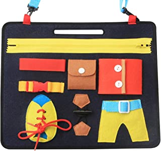 KAKIBLIN Baby Activity Board, Portable Toddler Busy Board Non-Toxic Early Educational Learning Toy Basic Life Skill Toy - ...