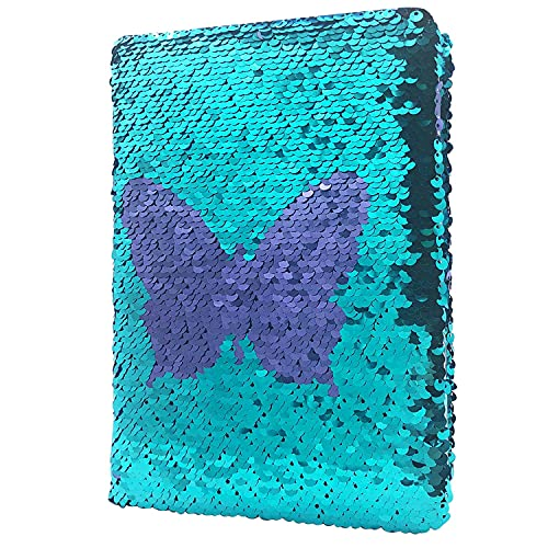 GINMLYDA Reversible Sequin Notebook for Girls, Cute Butterfly A5 Size...