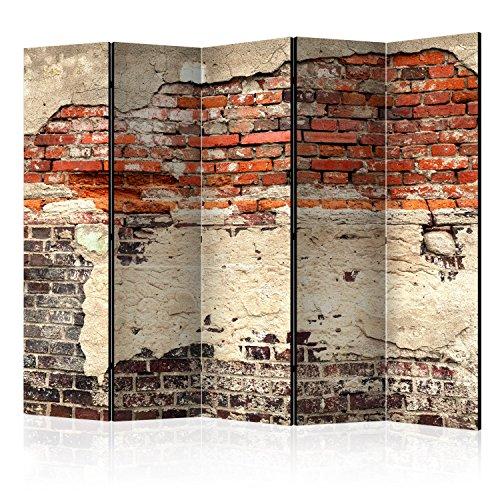 murando Raumteiler Ziegel-Optik Foto Paravent 225x172 cm beidseitig auf Vlies-Leinwand Bedruckt Trennwand Spanische Wand Sichtschutz Raumtrenner rot f-A-0503-z-c