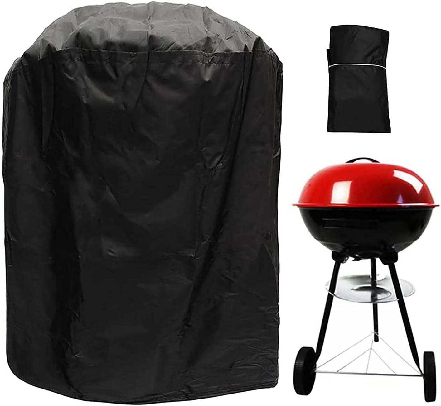 WASDY Funda Barbacoa Redonda, 210D Oxford Funda Protectora Barbacoa BBQ Funda Impermeable Resistente al Desgarro - Negro (58 * 77cm)