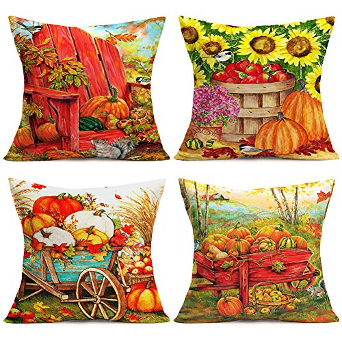 Doitely Autumn Blessings Falling Leaf Pumpkin Decorative Pillow Covers Happy Thankgiving Best Gift Cotton Linen Throw Pillow Covers 18x18 Inches for Home Sofa Decor Set of 4 (Pumpkin Harvest)