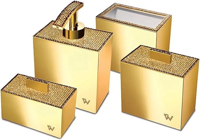 W Luxury Starlight Square Bathroom Accessories Set W Swarovski Crystal Set Of 4 Piece Soap Dispenser Pump Toothbrush Holder Cotton Swab Q Tip Container Polished Gold Home Kitchen