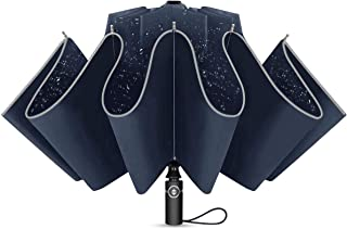Ombrello Pieghevole Automatico, Antivento Ombrello Portatile Resistenza Compatto Pioggia Ombrello da Viaggio per Uomo e Do...
