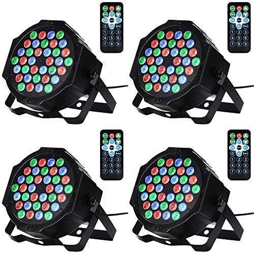AONCO LED Bühnenlicht Par Scheinwerfer DMX512 36LED RGBW Bühnenbeleuchtung mit Drahtlose Fernbedienung Beleuchtung Lichteffekt für Stage Lights Disco DJ Party Show Bar(4 STÜCK)