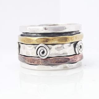 Meditation Ring, Boho Ring, Designer Ring, Sterling Silver Ring, Anti Anxiety Ring, Band Ring, Worry Ring, Thumb Ring, Rings For Women, Textured Ring Spinner