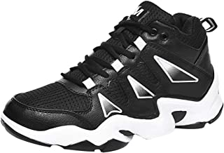 Yong Ding Unisex Basketball Sneakers Mesh Upper Breathable High Top Sports Shoes with Splice Design and Shock Absorbing Sole