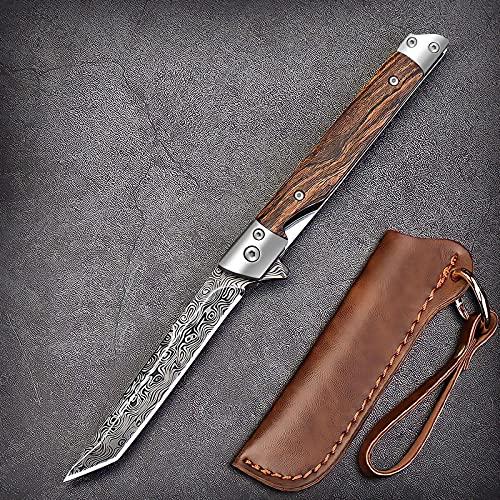 Eil Klappmesser Scharfes Taschenmesser mit Holzgriff. Survival Einhandmesser mit Flipper & Kugellagern, Jagdmesser aus Edelstahl (Muster - Quadratisches Kopfmesser)