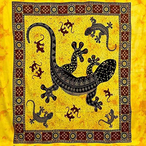 Telo Arredo Copritutto Grande Geko 210x230 cm 100% Cotone Copri divano Gran foulard con Frange Batik (Giallo)
