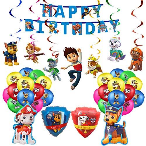 smileh Decoración Cumpleaños Patrulla Canina Globos Pancarta de Feliz Cumpleaños Remolinos Colgantes Decoraciones para Niños Adultos Decoraciones de Fiesta