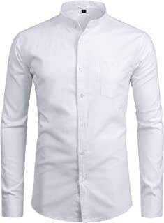 Men's Hipster Casual Slim Fit Long Sleeve Button Down Oxford Shirts with Chest Pocket