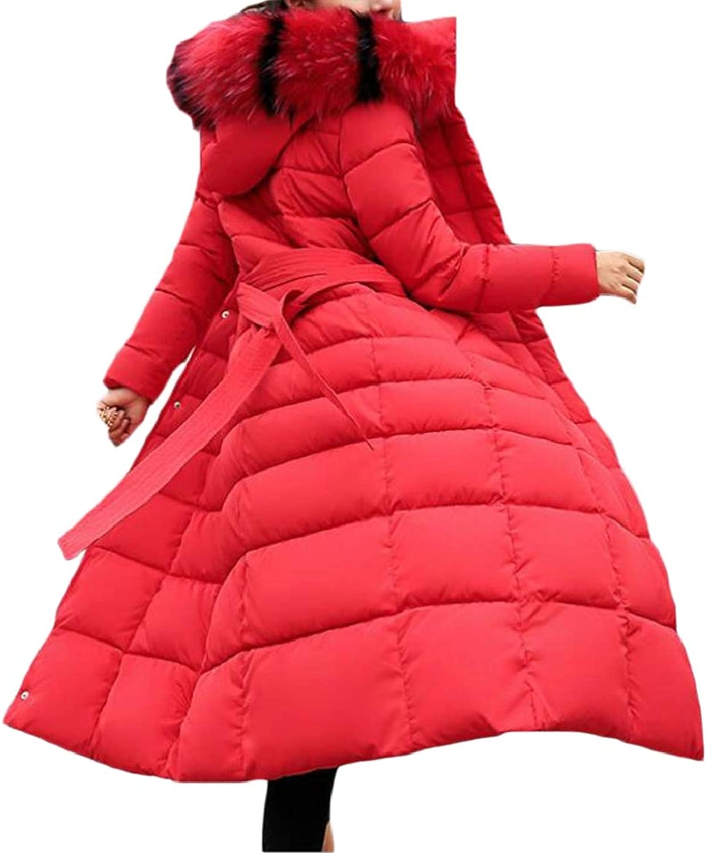 TDCACA Womens Slim Fit Faux Fur Casual Hooded Down Long Jacket Padded Coat