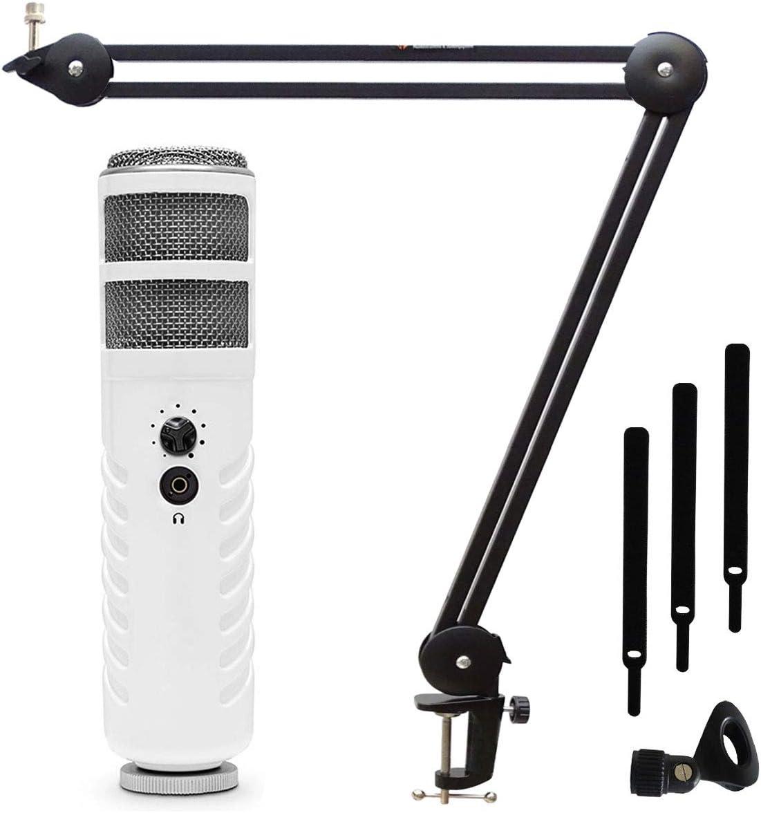 Rode Podcaster MKII - Micrófono de conversor (conexión USB, brazo de micrófono Keepdrum MS138)