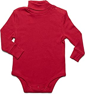Long Sleeve Baby Boys Girls Bodysuit Turtleneck 100% Cotton (Size 6 Months-2 Toddler)