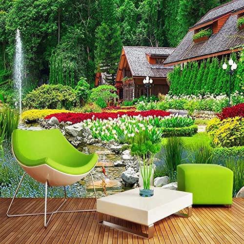 Papel pintado tejido no tejido Cabaña de jardín de selva verde blanco negro vinilos pared fotomurales decorativos pared para Sala de Estar Habitación Cocina Fondo de TV 150x105cm