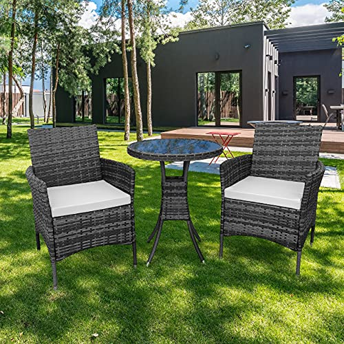 KEPLIN 3pc Rattan Garden Furniture Set – Outdoor Lounger Sofa, Chairs and Table Bistro Set for Lawn, Patio, Inside Conservatory – Easy to Store, Stackable, Ideal for Dining in the Sun - GREY