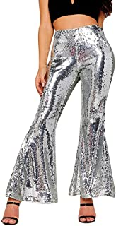 Qootent New Women's Sequin Flare Pants Loose Casual Nightclub Wide Leg Trousers