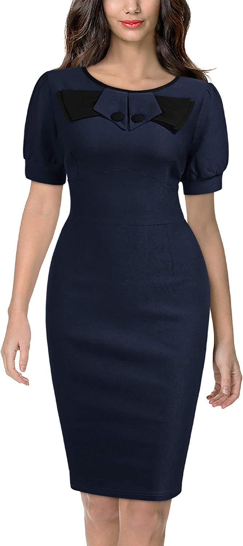 Miusol Women's Retro Bow Slim Style Cocktail Party Dress