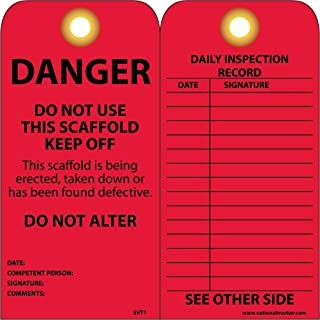 NMC SVT1 DANGER - DO NOT USE THIS SCAFFOLD - KEEP OFF - DO NOT ALTER Tag - [Pack of 25] 3 in. x 6 in. 2 Side Vinyl Inspection Tag with Grommet