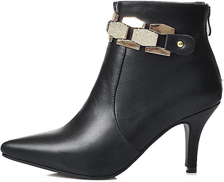 Davikey Women's Kitten-Heels Closed Pointed Toe Blend Materials Low-Top Boots Popular
