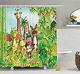 Rideau de à Motifs de Dessins animés par Animaux Mignons Girafe Tigre Serpent Dinosaure Hippopotame Singe dans la Jungle Enfants...