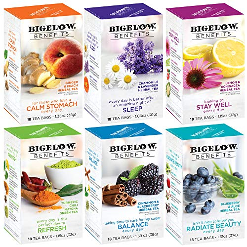 Bigelow Tea Benefits Wellness Teabag Variety Pack,...