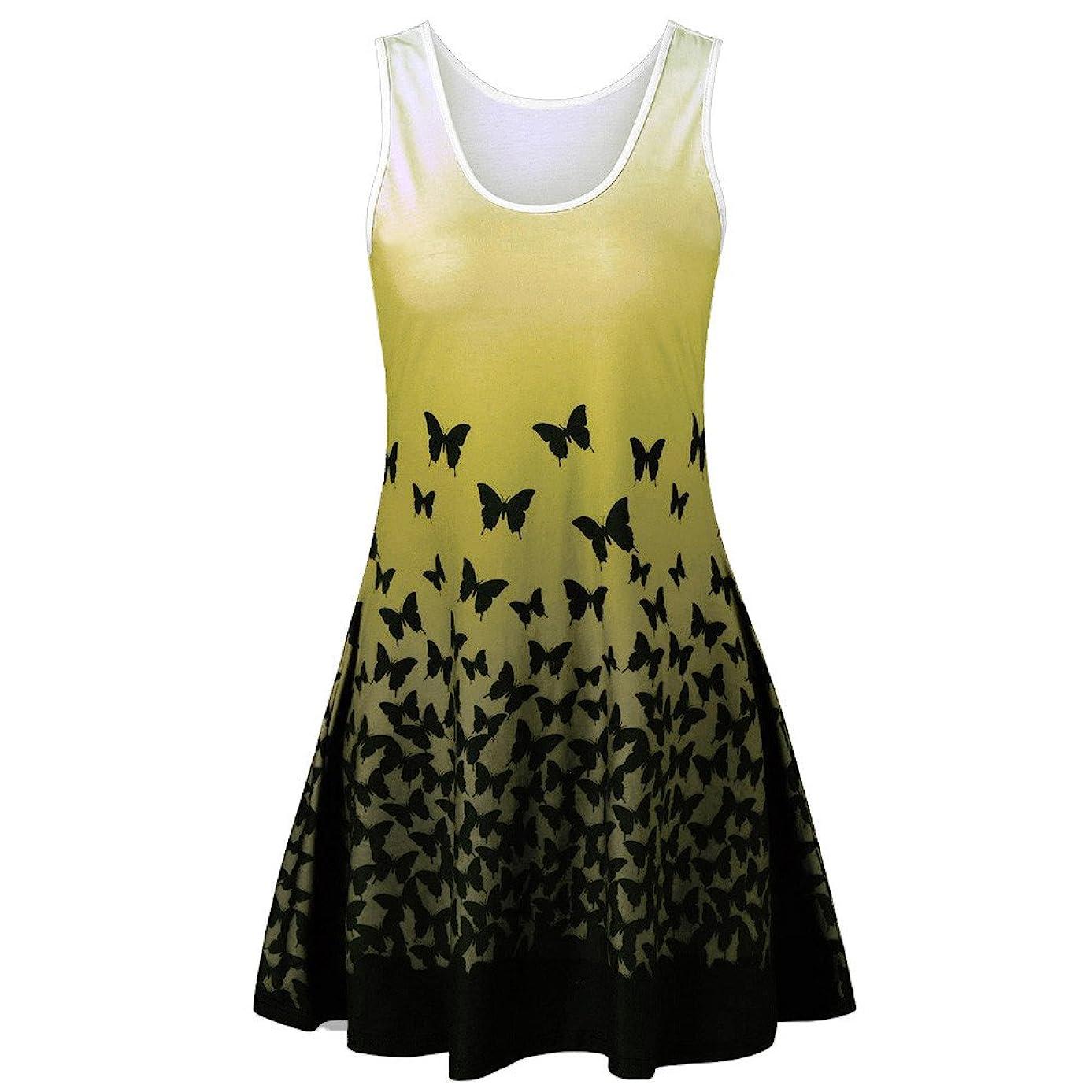 Ghazzi Women Dresses Casual Printed Mini Dress Tunic Top Sleeveless Party Swing Dress Vintage Sundress Beach Dress