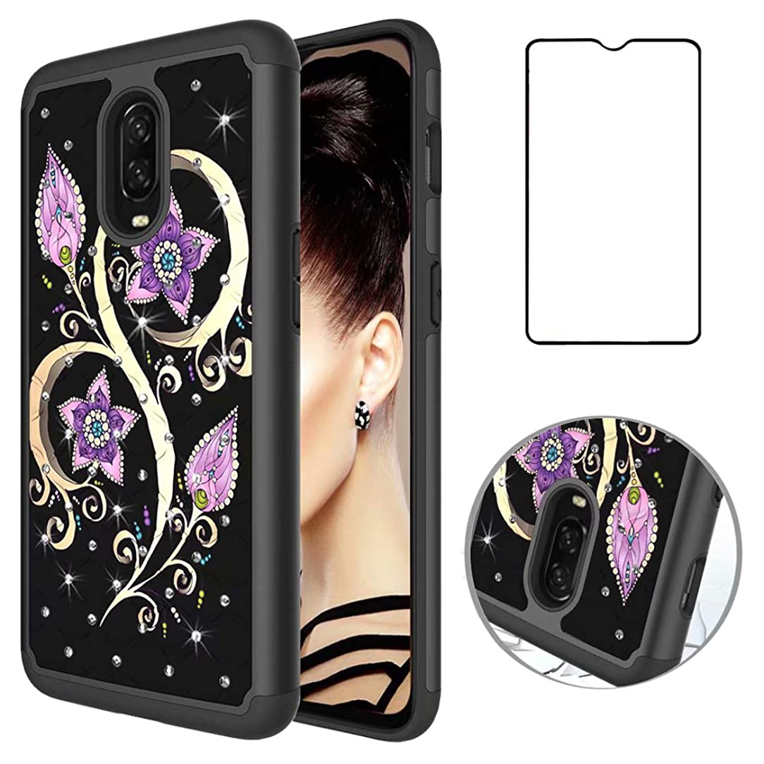 Strug for OnePlus 6T Case,[Tempered Glass Screen Protector] Dual Layer Bling Glitter Hybrid Shockproof Protective Cover Case for OnePlus 6T 2018(Peacock Flower)