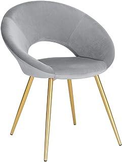 PPCAK Tela de Comedor de Terciopelo Colorido Tela Asiento tapizado con Patas de Metal Vestido Salón Casa Muebles de Cocina (Color : Light Grey)