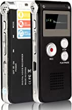 ACEE DEAL Digital Voice Recorder 8GB, Audio Voice Activated MP3 Player with Android USB Port, Multifunction Recorder Dictaphone with Built-in Speaker, Include Cables and Earphones Silver on Balck