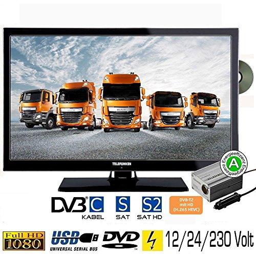 Telefunken L22F275X3 LED Fernseher 22 Zoll 55 cm TV mit DVD DVB-S /S2, DVB-T2, DVB-C, USB, Energieeffizienzklasse A, 230V / 12V / 24V