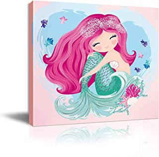 The Little Mermaid Bathroom Decor Pink Watercolor Canvas Framed Wall Art for Bedroom Bathroom Pictures Nursery Wall Decor for Girls Bedroom Artwork for Walls Modern Home Wall Decoration Size 14x14