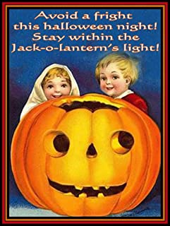 TYmall Children with Jack-O-Lantern Light Pumpkins Retro Vintage Look Reproduction Metal Tin Sign 8X12 Inches House Garage Decor