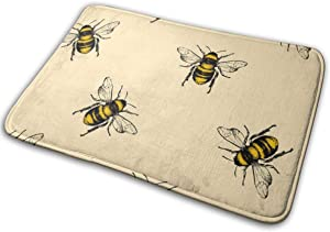 Honey Bee Memory Foam Bath Mat Non Slip Ultra Absorbent Bathroom Rug Carpet, 15.7
