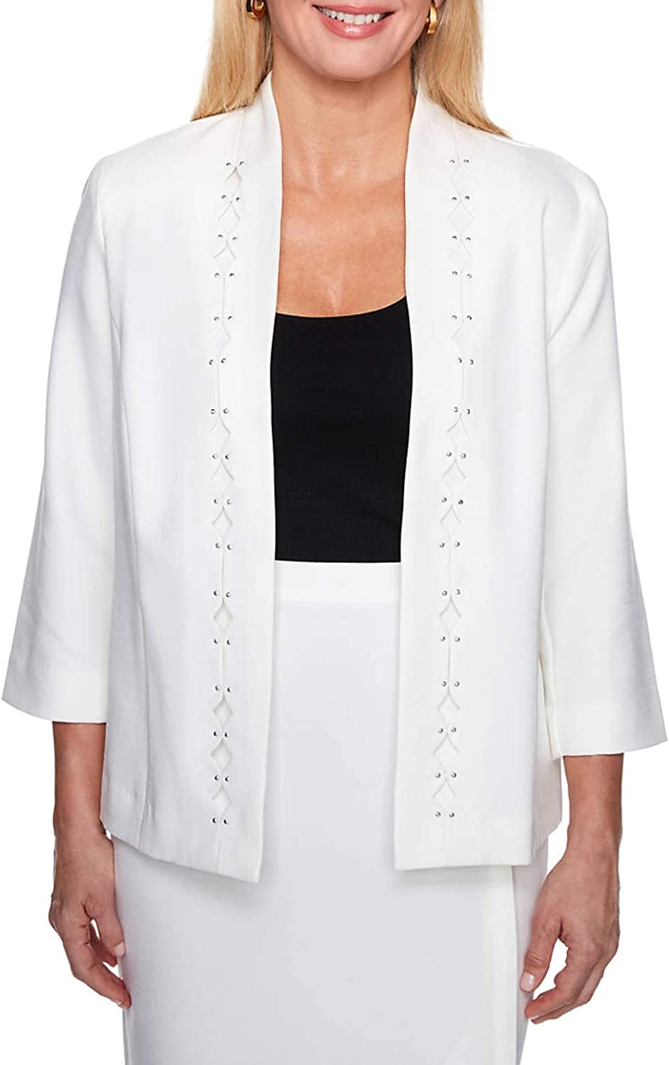 Alfred Dunner Womens Petites Embellished Three-Quarter Sleeve Open-Front Blazer