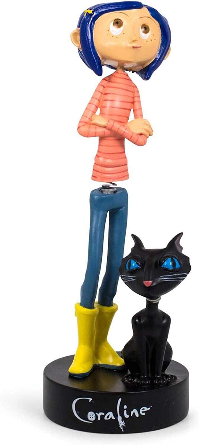 Surreal Entertainment Coraline with Cat PVC Bobble Figure Statue   Collectible Bobblehead Action Figure, Desk Toy Accessories   Novelty Gifts for Home Office Decor   6.5 Inches Tall