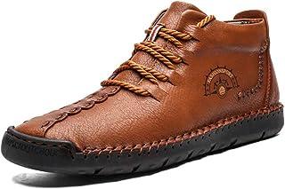 ZOSYNS Winterlaarzen voor heren, leren winterschoenen, outdoor, wandelschoenen, veterlaarzen, verdikt, warm gevoerd, antis...