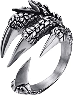 316L Stainless Steel Vintage Silver Dragon Claw Adjustable Opening Ring