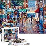 Puzzles para Adultos, Cartón Rompecabezas, Puzzle Creativo, DIY Arte Rompecabezas, Intelectual Educativo Rompecabezas para niños, Rompecabezas de Ciudad Romántica, Divertido Juego Familiar Puzzle