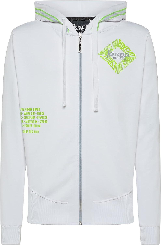 BOXEUR DES RUES - Hoodie Sweatshirt With Zip, Man White, XXL