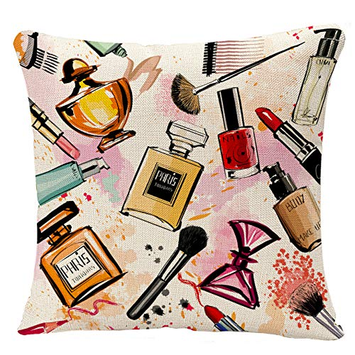 YGGQF Funda de almohada de maquillaje rosa acuarela colección de cosméticos y perfumes para niñas decoración del hogar almohada decorativa para sofá de 18 x 18 pulgadas
