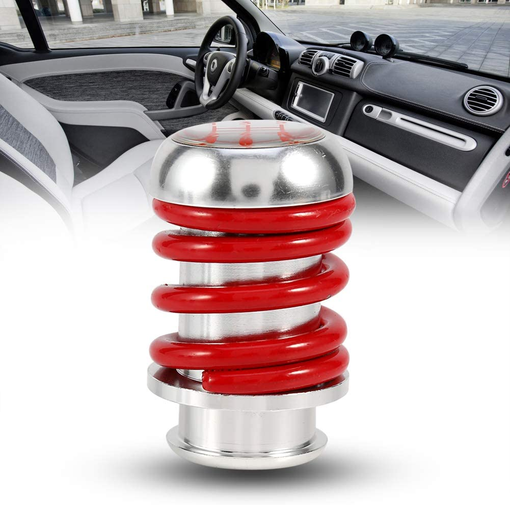 Aramox Manual Gear Stick Shift Knob,Universal Aluminum Spring 5 Speed Manual Car Gear Shifter Stick Shift Knob Lever Red