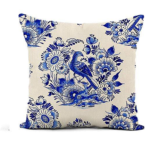 Babydo Kussensloop Delfts Blauw Aquarel Traditioneel Nederlands Bloemen Paradijs Vogel Onder Kussensloop Kussensloop Huisdecoratie Vierkante Kussensloop Kussensloop 45X45cm