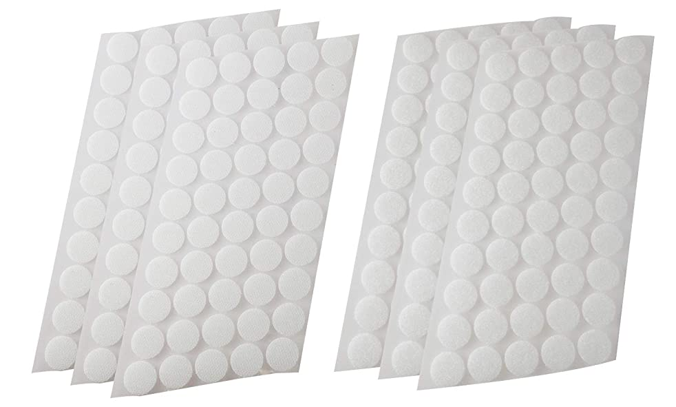 Mini Skater 400Pcs (200 Pairs) 20 mm/0.78 Inch Diameter Self Adhesive Nylon Sticky Back Coins Fastener Round Dot Stickers Hook Loop Tapes for Hanging Picture Frame Sewing Clothing Kids Crafts, White
