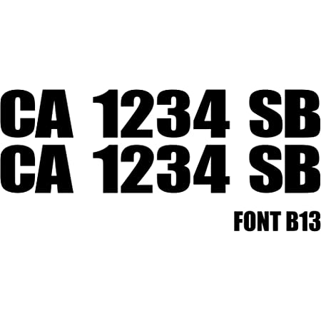 3 by 20 Pair of Registration Number Decals Custom Hull ID Custom Made for You! Choose from 17 Colors /& 26 Fonts