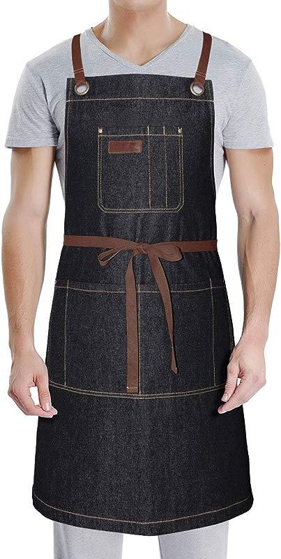Professional Apron With Pockets For Grill BBQ Kitchen Cooking Artist Painting Unisex For Men Women Bib Adjustable Design With Cross Back Straps Black Denim Black Denim
