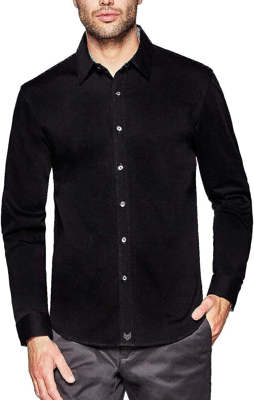 Buttercloth Men's Night Square in Black Long Sleeve Dress Shirt (Black, X-Large)