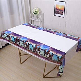 """ZIYAN Battle Royale Plastic Tablecover Disposable Tablecloth Video Game Birthday Party Supplies Decorations for Kid Boy Baby Shower Rectangle Tables 70""""X42"""""""