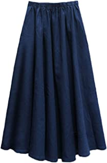 Women's Solid Cotton Linen Retro Vintage A-line Long Flowy Skirts