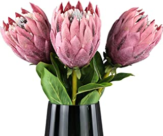 Rinlong 3pcs Artificial Protea Cynaroides Real Touch Flocked Silk Flower for Wedding Bridal Bouquet Home Kitchen Flower Arrangements Centerpieces for Dining Table Decor