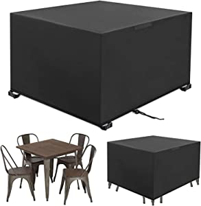 MOJAY Outdoor Patio Furniture Covers,Water&Windproof Table Chair Set Covers,Outdoor Furniture Cover with Airvents & Drawstring (Black,49.6X49.6X29.1 inch)
